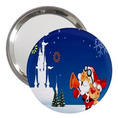 Santa Claus Reindeer Horn Castle Trees Christmas Holiday 3  Handbag Mirrors