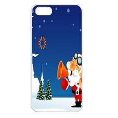 Santa Claus Reindeer Horn Castle Trees Christmas Holiday Apple iPhone 5 Seamless Case (White)