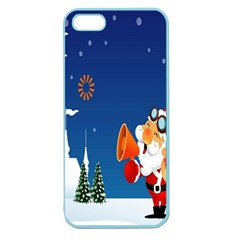 Santa Claus Reindeer Horn Castle Trees Christmas Holiday Apple Seamless iPhone 5 Case (Color)