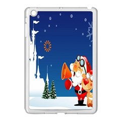 Santa Claus Reindeer Horn Castle Trees Christmas Holiday Apple iPad Mini Case (White)