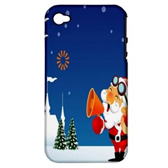 Santa Claus Reindeer Horn Castle Trees Christmas Holiday Apple iPhone 4/4S Hardshell Case (PC+Silicone)