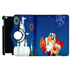 Santa Claus Reindeer Horn Castle Trees Christmas Holiday Apple iPad 3/4 Flip 360 Case