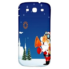 Santa Claus Reindeer Horn Castle Trees Christmas Holiday Samsung Galaxy S3 S III Classic Hardshell Back Case