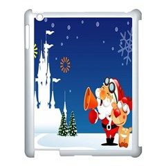 Santa Claus Reindeer Horn Castle Trees Christmas Holiday Apple iPad 3/4 Case (White)