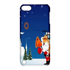 Santa Claus Reindeer Horn Castle Trees Christmas Holiday Apple iPod Touch 5 Hardshell Case with Stand