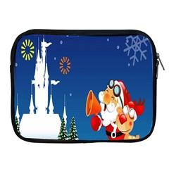 Santa Claus Reindeer Horn Castle Trees Christmas Holiday Apple iPad 2/3/4 Zipper Cases