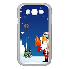 Santa Claus Reindeer Horn Castle Trees Christmas Holiday Samsung Galaxy Grand DUOS I9082 Case (White)