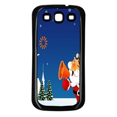 Santa Claus Reindeer Horn Castle Trees Christmas Holiday Samsung Galaxy S3 Back Case (Black)