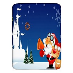 Santa Claus Reindeer Horn Castle Trees Christmas Holiday Samsung Galaxy Tab 3 (10.1 ) P5200 Hardshell Case