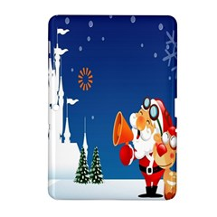 Santa Claus Reindeer Horn Castle Trees Christmas Holiday Samsung Galaxy Tab 2 (10.1 ) P5100 Hardshell Case