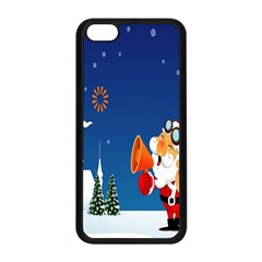 Santa Claus Reindeer Horn Castle Trees Christmas Holiday Apple iPhone 5C Seamless Case (Black)