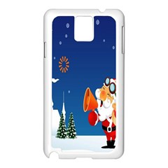 Santa Claus Reindeer Horn Castle Trees Christmas Holiday Samsung Galaxy Note 3 N9005 Case (White)