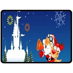 Santa Claus Reindeer Horn Castle Trees Christmas Holiday Double Sided Fleece Blanket (Large)