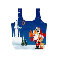 Santa Claus Reindeer Horn Castle Trees Christmas Holiday Full Print Recycle Bags (S)