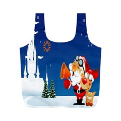 Santa Claus Reindeer Horn Castle Trees Christmas Holiday Full Print Recycle Bags (M)