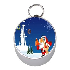 Santa Claus Reindeer Horn Castle Trees Christmas Holiday Mini Silver Compasses
