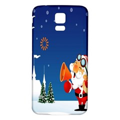 Santa Claus Reindeer Horn Castle Trees Christmas Holiday Samsung Galaxy S5 Back Case (White)
