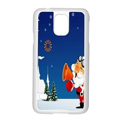 Santa Claus Reindeer Horn Castle Trees Christmas Holiday Samsung Galaxy S5 Case (White)