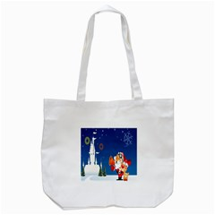 Santa Claus Reindeer Horn Castle Trees Christmas Holiday Tote Bag (White)