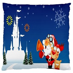 Santa Claus Reindeer Horn Castle Trees Christmas Holiday Standard Flano Cushion Case (One Side)