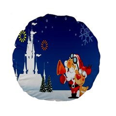 Santa Claus Reindeer Horn Castle Trees Christmas Holiday Standard 15  Premium Flano Round Cushions