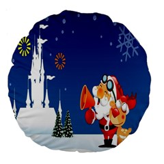 Santa Claus Reindeer Horn Castle Trees Christmas Holiday Large 18  Premium Flano Round Cushions