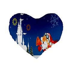 Santa Claus Reindeer Horn Castle Trees Christmas Holiday Standard 16  Premium Flano Heart Shape Cushions