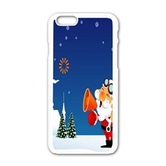 Santa Claus Reindeer Horn Castle Trees Christmas Holiday Apple iPhone 6/6S White Enamel Case