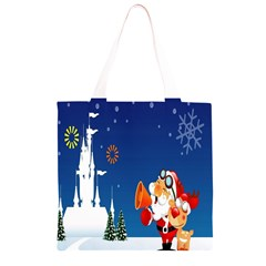 Santa Claus Reindeer Horn Castle Trees Christmas Holiday Grocery Light Tote Bag