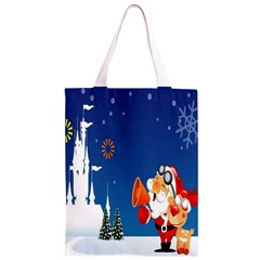 Santa Claus Reindeer Horn Castle Trees Christmas Holiday Classic Light Tote Bag