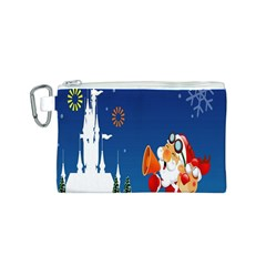 Santa Claus Reindeer Horn Castle Trees Christmas Holiday Canvas Cosmetic Bag (S)