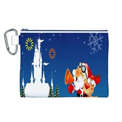 Santa Claus Reindeer Horn Castle Trees Christmas Holiday Canvas Cosmetic Bag (L)
