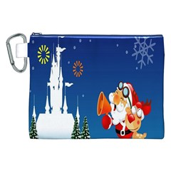 Santa Claus Reindeer Horn Castle Trees Christmas Holiday Canvas Cosmetic Bag (XXL)