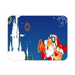 Santa Claus Reindeer Horn Castle Trees Christmas Holiday Double Sided Flano Blanket (Mini)