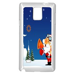 Santa Claus Reindeer Horn Castle Trees Christmas Holiday Samsung Galaxy Note 4 Case (white)