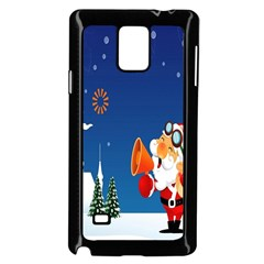 Santa Claus Reindeer Horn Castle Trees Christmas Holiday Samsung Galaxy Note 4 Case (Black)