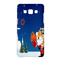 Santa Claus Reindeer Horn Castle Trees Christmas Holiday Samsung Galaxy A5 Hardshell Case