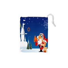 Santa Claus Reindeer Horn Castle Trees Christmas Holiday Drawstring Pouches (XS)