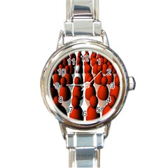 Red White Round Italian Charm Watch