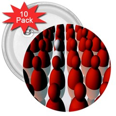 Red White 3  Buttons (10 pack)