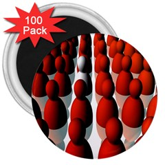 Red White 3  Magnets (100 pack)