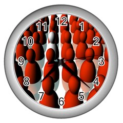 Red White Wall Clocks (Silver)