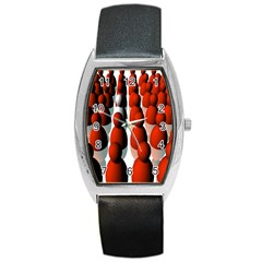 Red White Barrel Style Metal Watch