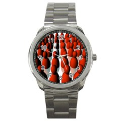 Red White Sport Metal Watch
