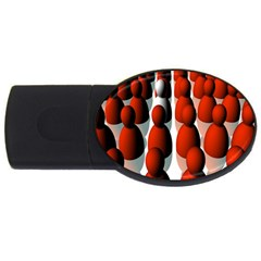 Red White USB Flash Drive Oval (4 GB)