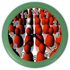 Red White Color Wall Clocks