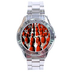 Red White Stainless Steel Analogue Watch
