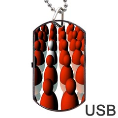 Red White Dog Tag USB Flash (Two Sides)