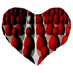 Red White Large 19  Premium Heart Shape Cushions