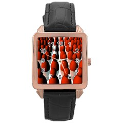 Red White Rose Gold Leather Watch